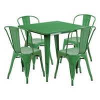 Flash Furniture 5-Piece Metal Indoor Square Table and Stackable Chairs Set in Green