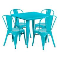 Flash Furniture 5-Piece Metal Indoor Square Table and Stackable Chairs Set in Teal Blue