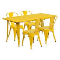 Flash Furniture 5-Piece Indoor/Outdoor Rectangular Metal Table and Stackable Chairs Set in Yellow