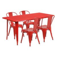 Flash Furniture 5-Piece Indoor/Outdoor Rectangular Metal Table and Stackable Chairs Set in Red