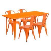 Flash Furniture 5-Piece Indoor/Outdoor Rectangular Metal Table and Stackable Chairs Set in Orange