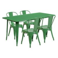 Flash Furniture 5-Piece Indoor/Outdoor Rectangular Metal Table and Stackable Chairs Set in Green