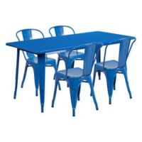 Flash Furniture 5-Piece Indoor/Outdoor Rectangular Metal Table and Stackable Chairs Set in Blue