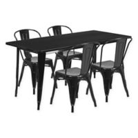 Flash Furniture 5-Piece Indoor/Outdoor Rectangular Metal Table and Stackable Chairs Set in Black