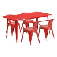 Flash Furniture 5-Piece Metal Indoor Rectangle Table and Stackable Chairs Set in Red
