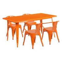 Flash Furniture 5-Piece Metal Indoor Rectangle Table and Stackable Chairs Set in Orange