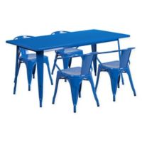 Flash Furniture 5-Piece Metal Indoor Rectangle Table and Stackable Chairs Set in Blue