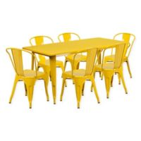 Flash Furniture 7-Piece Metal Indoor Rectangle Table and Stackable Chairs Set in Yellow