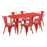Flash Furniture 7-Piece Metal Indoor Rectangle Table and Stackable Chairs Set in Red
