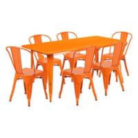 Flash Furniture 7-Piece Metal Indoor Rectangle Table and Stackable Chairs Set in Orange