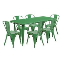 Flash Furniture 7-Piece Metal Indoor Rectangle Table and Stackable Chairs Set in Green