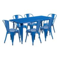 Flash Furniture 7-Piece Metal Indoor Rectangle Table and Stackable Chairs Set in Blue
