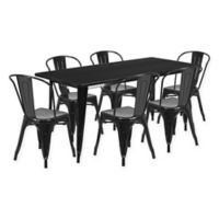 Flash Furniture 7-Piece Metal Indoor Rectangle Table and Stackable Chairs Set in Black