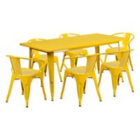 Flash Furniture 7-Piece Indoor/Outdoor Rectangular Metal Table and Stackable Chairs Set in Yellow