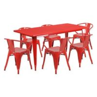Flash Furniture 7-Piece Indoor/Outdoor Rectangular Metal Table and Stackable Chairs Set in Red
