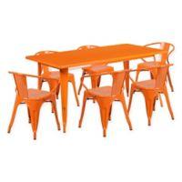 Flash Furniture 7-Piece Indoor/Outdoor Rectangular Metal Table and Stackable Chairs Set in Orange