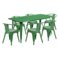 Flash Furniture 7-Piece Indoor/Outdoor Rectangular Metal Table and Stackable Chairs Set in Green