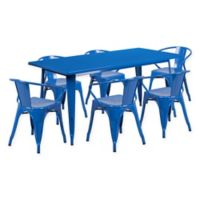 Flash Furniture 7-Piece Indoor/Outdoor Rectangular Metal Table and Stackable Chairs Set in Blue