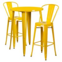 Flash Furniture 3-Piece 30-Inch Round Metal Bar Table and Bistro Stools Set in Yellow