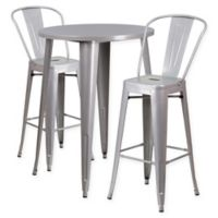 Flash Furniture 3-Piece 30-Inch Round Metal Bar Table and Bistro Stools Set in Silver