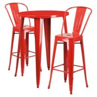Flash Furniture 3-Piece 30-Inch Round Metal Bar Table and Bistro Stools Set in Red