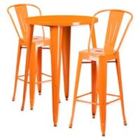 Flash Furniture 3-Piece 30-Inch Round Metal Bar Table and Bistro Stools Set in Orange