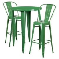 Flash Furniture 3-Piece 30-Inch Round Metal Bar Table and Bistro Stools Set in Green