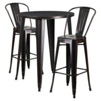Flash Furniture 3-Piece 30-Inch Round Metal Bar Table and Bistro Stools Set in Black/Gold