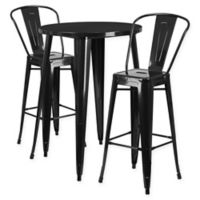 Flash Furniture 3-Piece 30-Inch Round Metal Bar Table and Bistro Stools Set in Black