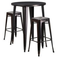 Flash Furniture 3-Piece 30-Inch Round Metal Bar Table and Stackable Stools Set in Black/Gold