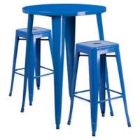 Flash Furniture 3-Piece 30-Inch Round Metal Bar Table and Stackable Stools Set in Blue