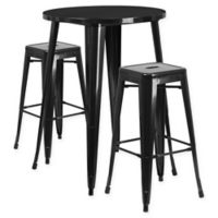 Flash Furniture 3-Piece 30-Inch Round Metal Bar Table and Stackable Stools Set in Black