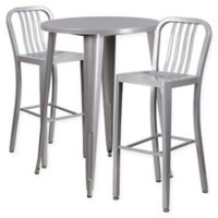 Flash Furniture 3-Piece 30-Inch Round Metal Bar Table and Industrial Stools Set in Silver