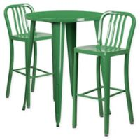 Flash Furniture 3-Piece 30-Inch Round Metal Bar Table and Industrial Stools Set in Green
