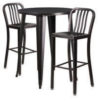 Flash Furniture 3-Piece 30-Inch Round Metal Bar Table and Industrial Stools Set in Black/Gold