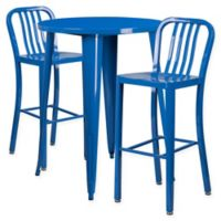 Flash Furniture 3-Piece 30-Inch Round Metal Bar Table and Industrial Stools Set in Blue
