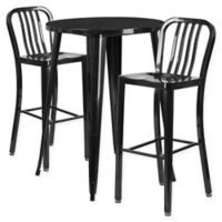 Flash Furniture 3-Piece 30-Inch Round Metal Bar Table and Industrial Stools Set in Black