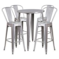 Flash Furniture 5-Piece 30-Inch Round Metal Bar Table and Bistro Stools Set in Silver
