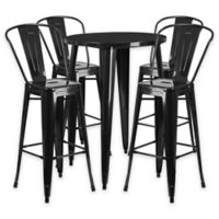 Flash Furniture 5-Piece 30-Inch Round Metal Bar Table and Bistro Stools Set in Black