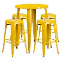 Flash Furniture 5-Piece 30-Inch Round Metal Bar Table and Stackable Stools Set in Yellow