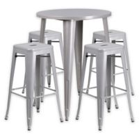 Flash Furniture 5-Piece 30-Inch Round Metal Bar Table and Stackable Stools Set in Silver
