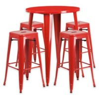 Flash Furniture 5-Piece 30-Inch Round Metal Bar Table and Stackable Stools Set in Red