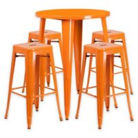 Flash Furniture 5-Piece 30-Inch Round Metal Bar Table and Stackable Stools Set in Orange