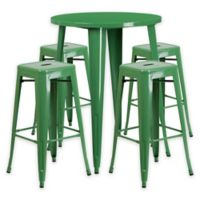 Flash Furniture 5-Piece 30-Inch Round Metal Bar Table and Stackable Stools Set in Green