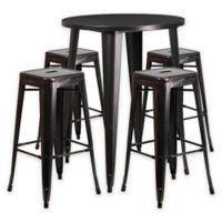 Flash Furniture 5-Piece 30-Inch Round Metal Bar Table and Stackable Stools Set in Black/Gold