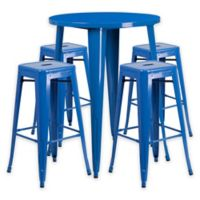 Flash Furniture 5-Piece 30-Inch Round Metal Bar Table and Stackable Stools Set in Blue