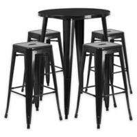 Flash Furniture 5-Piece 30-Inch Round Metal Bar Table and Stackable Stools Set in Black