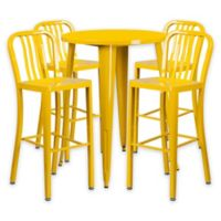 Flash Furniture 5-Piece 30-Inch Round Metal Bar Table and Industrial Stools Set in Yellow