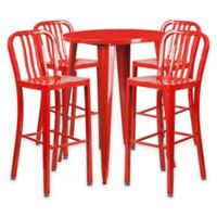 Flash Furniture 5-Piece 30-Inch Round Metal Bar Table and Industrial Stools Set in Red