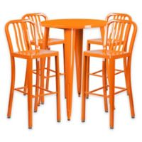 Flash Furniture 5-Piece 30-Inch Round Metal Bar Table and Industrial Stools Set in Orange